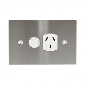 Stainless Steel GPO Single 10A 250V AC   PLATINUM Series