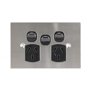 Stainless Steel GPO Double Black with Extra Switch   PLATINUM Series