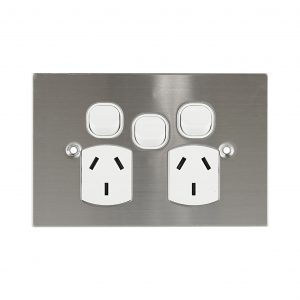 Stainless Steel GPO Double with Extra Switch 10A   PLATINUM Series