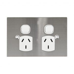 Stainless Steel GPO Double 10A 250V AC BLACK   PLATINUM Series
