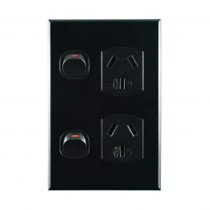 Vertical Double Power Point Black 10A 250V AC | BASIX S